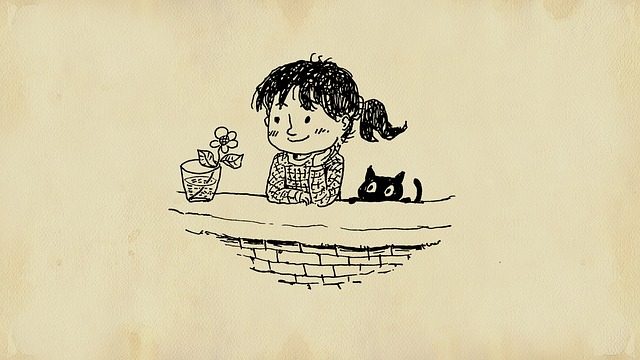 dessin d'une petite fille avec un pot de fleur et son chat-parents31.fr